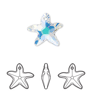 drop, swarovski crystals, crystal passions, crystal ab, 17x16mm faceted starfish pendant (6721). sold individually.