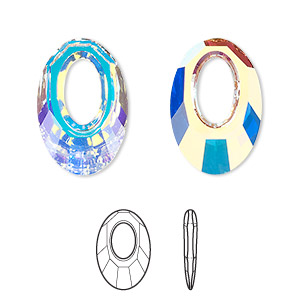 drop, swarovski crystals, crystal passions, crystal ab, 20x13.5mm faceted helios pendant (6040). sold per pkg of 6.