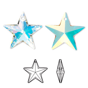 drop, swarovski crystals, crystal passions, crystal ab, 20x19mm faceted star pendant (6714). sold individually.