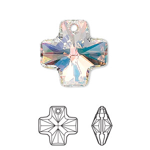 drop, swarovski crystals, crystal passions, crystal ab, 20x20mm faceted cross pendant (6866). sold individually.