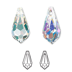 drop, swarovski crystals, crystal passions, crystal ab, 22x11mm faceted teardrop pendant (6000). sold individually.