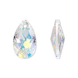 drop, swarovski crystals, crystal passions, crystal ab, 22x13mm faceted pear pendant (6106). sold per pkg of 24.