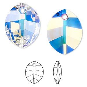 drop, swarovski crystals, crystal passions, crystal ab, 23x18mm faceted pure leaf pendant (6734). sold per pkg of 6.