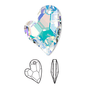 drop, swarovski crystals, crystal passions, crystal ab, 27x20mm faceted devoted 2 u heart pendant (6261). sold individually.