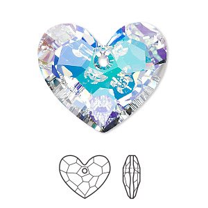 drop, swarovski crystals, crystal passions, crystal ab, 28x23mm faceted truly in love heart pendant (6264). sold per pkg of 4.
