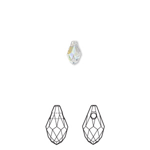 drop, swarovski crystals, crystal passions, crystal ab, 7x4mm faceted briolette pendant (6007). sold per pkg of 48.