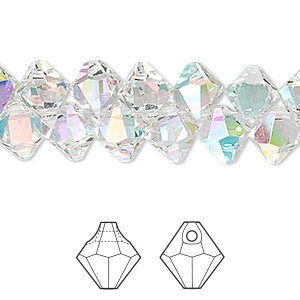 drop, swarovski crystals, crystal passions, crystal ab, 8mm faceted bicone pendant (6301). sold per pkg of 144 (1 gross).