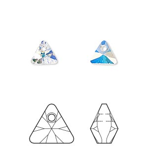 drop, swarovski crystals, crystal passions, crystal ab, 8mm xilion triangle pendant (6628). sold per pkg of 24.