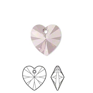 drop, swarovski crystals, crystal passions, crystal antique pink, 14x14mm xilion heart pendant (6228). sold per pkg of 24.