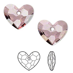 drop, swarovski crystals, crystal passions, crystal antique pink, 18x15mm faceted truly in love heart pendant (6264). sold individually.