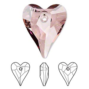 drop, swarovski crystals, crystal passions, crystal antique pink, 27x22mm faceted wild heart pendant (6240). sold individually.