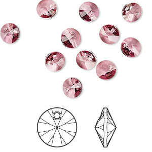 drop, swarovski crystals, crystal passions, crystal antique pink, 6mm xilion rivoli pendant (6428). sold per pkg of 12.