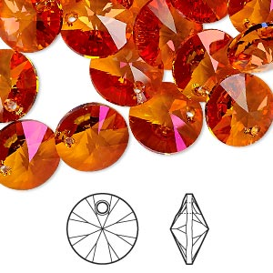 drop, swarovski crystals, crystal passions, crystal astral pink, 12mm xilion rivoli pendant (6428). sold per pkg of 12.