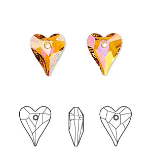 drop, swarovski crystals, crystal passions, crystal astral pink, 12x10mm faceted wild heart pendant (6240). sold per pkg of 18.