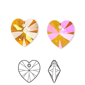 drop, swarovski crystals, crystal passions, crystal astral pink, 14x14mm xilion heart pendant (6228). sold per pkg of 24.