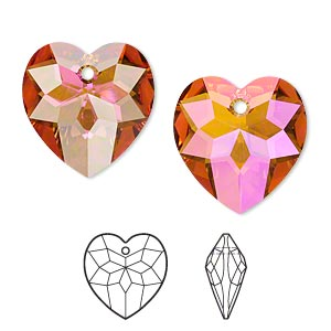 drop, swarovski crystals, crystal passions, crystal astral pink, 18x17mm faceted heart pendant (6215). sold individually.