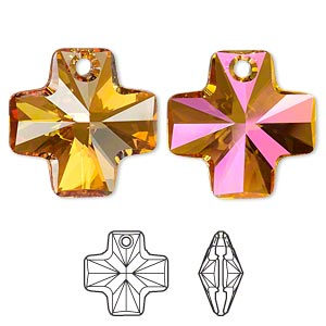 drop, swarovski crystals, crystal passions, crystal astral pink, 20x20mm faceted cross pendant (6866). sold individually.