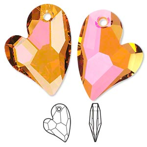 drop, swarovski crystals, crystal passions, crystal astral pink, 27x20mm faceted devoted 2 u heart pendant (6261). sold individually.