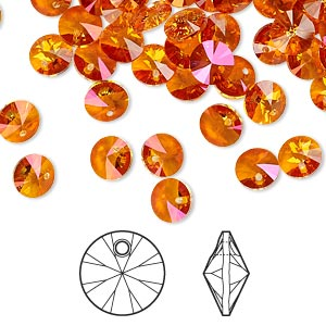 drop, swarovski crystals, crystal passions, crystal astral pink, 6mm xilion rivoli pendant (6428). sold per pkg of 12.