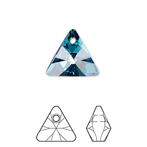 drop, swarovski crystals, crystal passions, crystal bermuda blue p, 16mm xilion triangle pendant (6628). sold per pkg of 6.