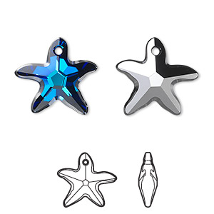 drop, swarovski crystals, crystal passions, crystal bermuda blue p, 17x16mm faceted starfish pendant (6721). sold per pkg of 72.