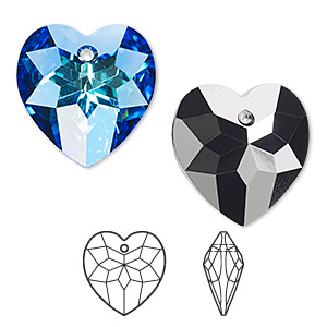 drop, swarovski crystals, crystal passions, crystal bermuda blue p, 18x17mm faceted heart pendant (6215). sold individually.