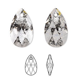 drop, swarovski crystals, crystal passions, crystal black patina, 22x13mm faceted pear pendant (6106). sold per pkg of 24.