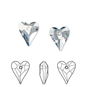 drop, swarovski crystals, crystal passions, crystal blue shade, 12x10mm faceted wild heart pendant (6240). sold per pkg of 2.