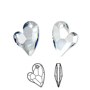 drop, swarovski crystals, crystal passions, crystal blue shade, 17x13mm faceted devoted 2 u heart pendant (6261). sold individually.