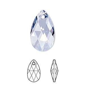 drop, swarovski crystals, crystal passions, crystal blue shade, 22x13mm faceted pear pendant (6106). sold individually.