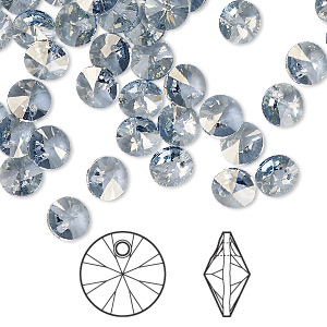 drop, swarovski crystals, crystal passions, crystal blue shade, 6mm xilion rivoli pendant (6428). sold per pkg of 144 (1 gross).