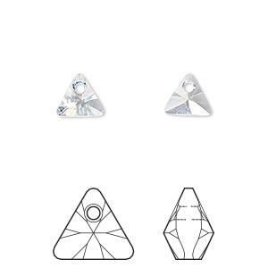 drop, swarovski crystals, crystal passions, crystal blue shade, 8mm xilion triangle pendant (6628). sold per pkg of 24.
