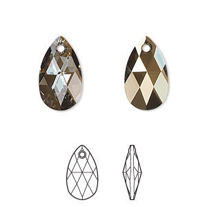 drop, swarovski crystals, crystal passions, crystal bronze shade, 16x9mm faceted pear pendant (6106). sold per pkg of 24.