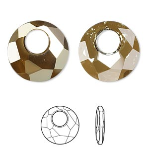 drop, swarovski crystals, crystal passions, crystal bronze shade, 18mm faceted victory pendant (6041). sold per pkg of 6.