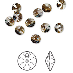drop, swarovski crystals, crystal passions, crystal bronze shade, 6mm xilion rivoli pendant (6428). sold per pkg of 12.