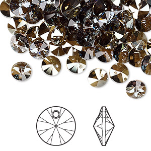 drop, swarovski crystals, crystal passions, crystal bronze shade, 6mm xilion rivoli pendant (6428). sold per pkg of 144 (1 gross).