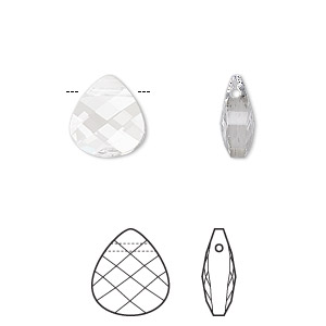 drop, swarovski crystals, crystal passions, crystal clear, 11x10mm faceted puffed briolette pendant (6012). sold per pkg of 24.