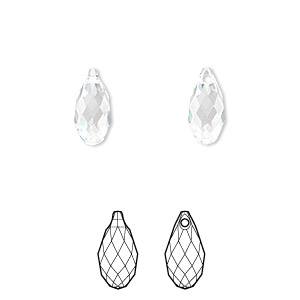 drop, swarovski crystals, crystal passions, crystal clear, 11x5.5mm faceted briolette pendant (6010). sold per pkg of 24.