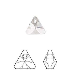 drop, swarovski crystals, crystal passions, crystal clear, 12mm xilion triangle pendant (6628). sold per pkg of 12.