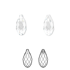 drop, swarovski crystals, crystal passions, crystal clear, 13x6.5mm faceted briolette pendant (6010). sold per pkg of 24.