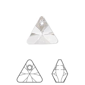 drop, swarovski crystals, crystal passions, crystal clear, 16mm xilion triangle pendant (6628). sold per pkg of 6.