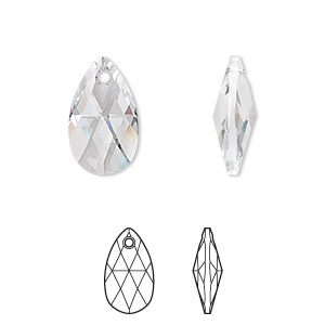 drop, swarovski crystals, crystal passions, crystal clear, 16x9mm faceted pear pendant (6106). sold individually.