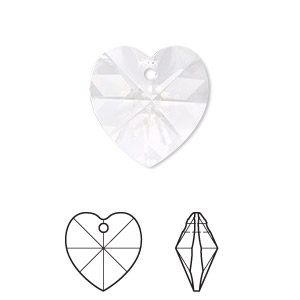 drop, swarovski crystals, crystal passions, crystal clear, 18x18mm xilion heart pendant (6228). sold per pkg of 24.