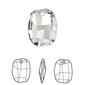 drop, swarovski crystals, crystal passions, crystal clear, 19x14mm faceted graphic pendant (6685). sold individually.