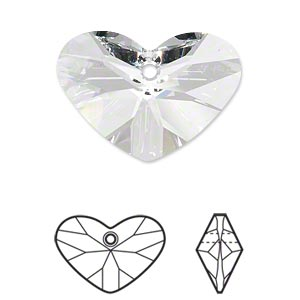 drop, swarovski crystals, crystal passions, crystal clear, 27x19mm faceted crazy 4 u heart pendant (6260). sold per pkg of 4.
