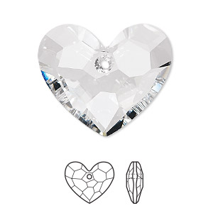 drop, swarovski crystals, crystal passions, crystal clear, 28x23mm faceted truly in love heart pendant (6264). sold per pkg of 4.