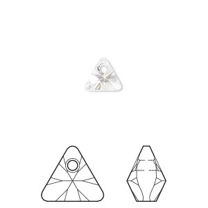 drop, swarovski crystals, crystal passions, crystal clear, 8mm xilion triangle pendant (6628). sold per pkg of 6.