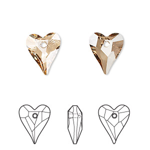 drop, swarovski crystals, crystal passions, crystal golden shadow, 12x10mm faceted wild heart pendant (6240). sold per pkg of 18.