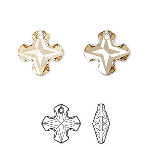 drop, swarovski crystals, crystal passions, crystal golden shadow, 14mm faceted greek cross pendant (6867). sold individually.
