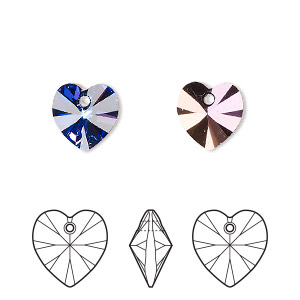 drop, swarovski crystals, crystal passions, crystal heliotrope, 10x10mm xilion heart pendant (6228). sold per pkg of 2.